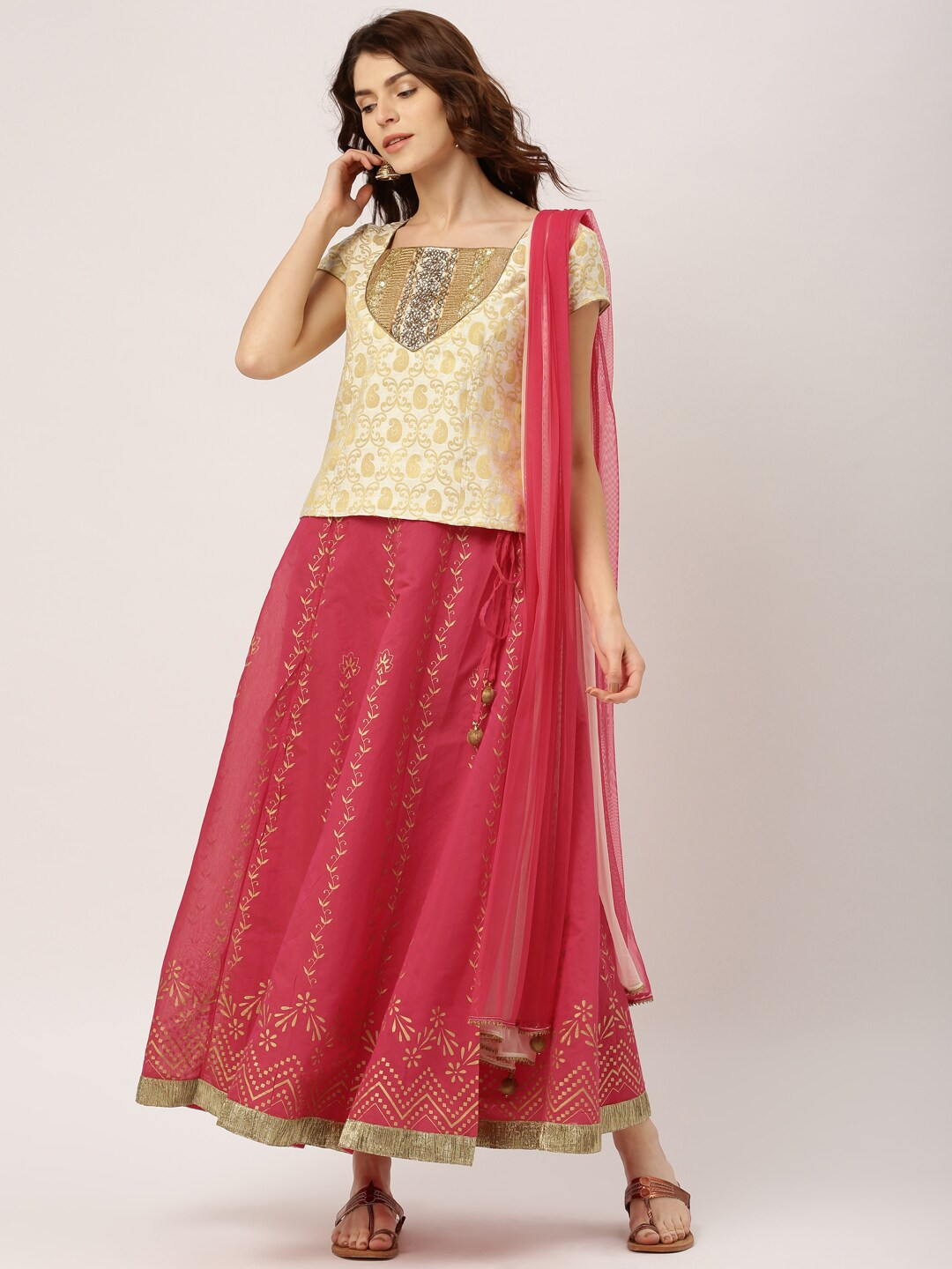 IMARA Off-White & Pink Lehenga Choli with Dupatta image