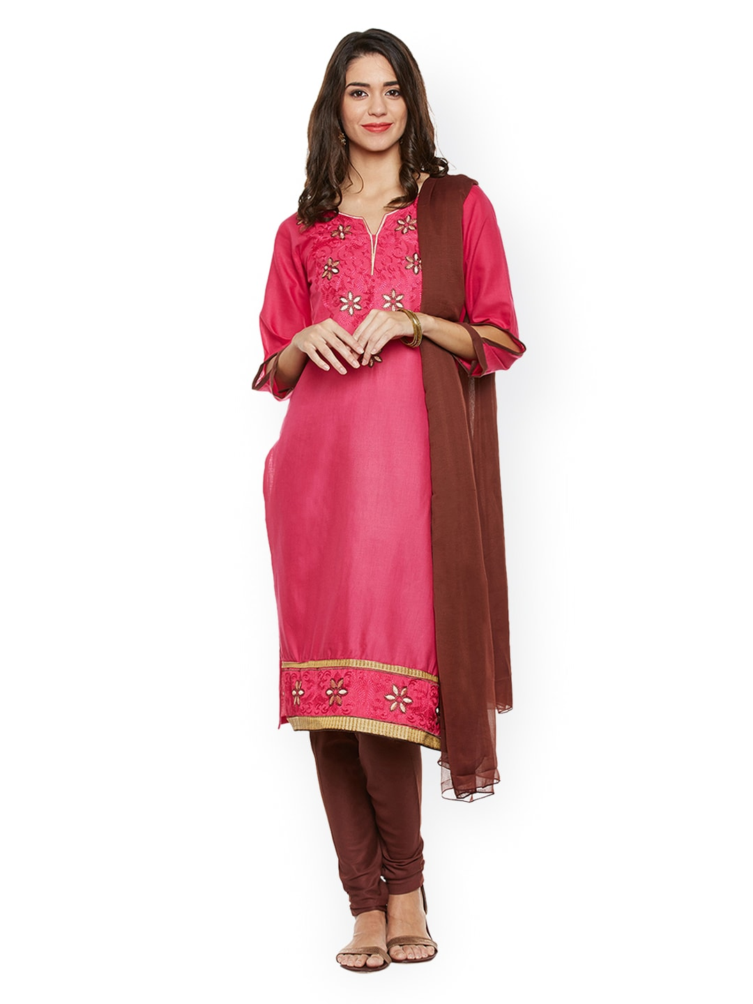 AgrohA Pink & Brown Pure Cotton Unstitched Dress Material image