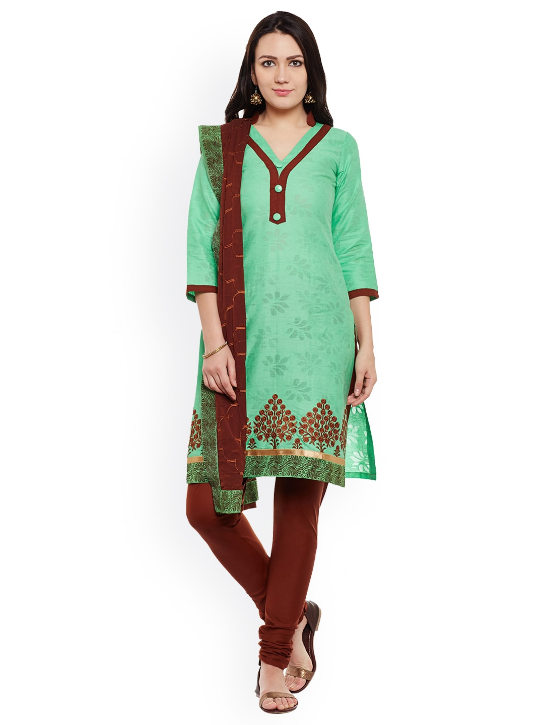 AgrohA Green & Brown Cotton Blend Unstitched Dress Material image