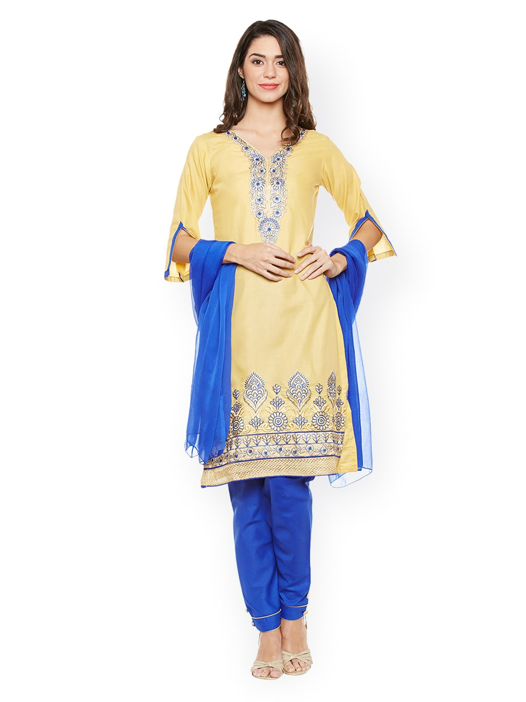 AgrohA Yellow & Blue Pure Cotton Unstitched Dress Material image
