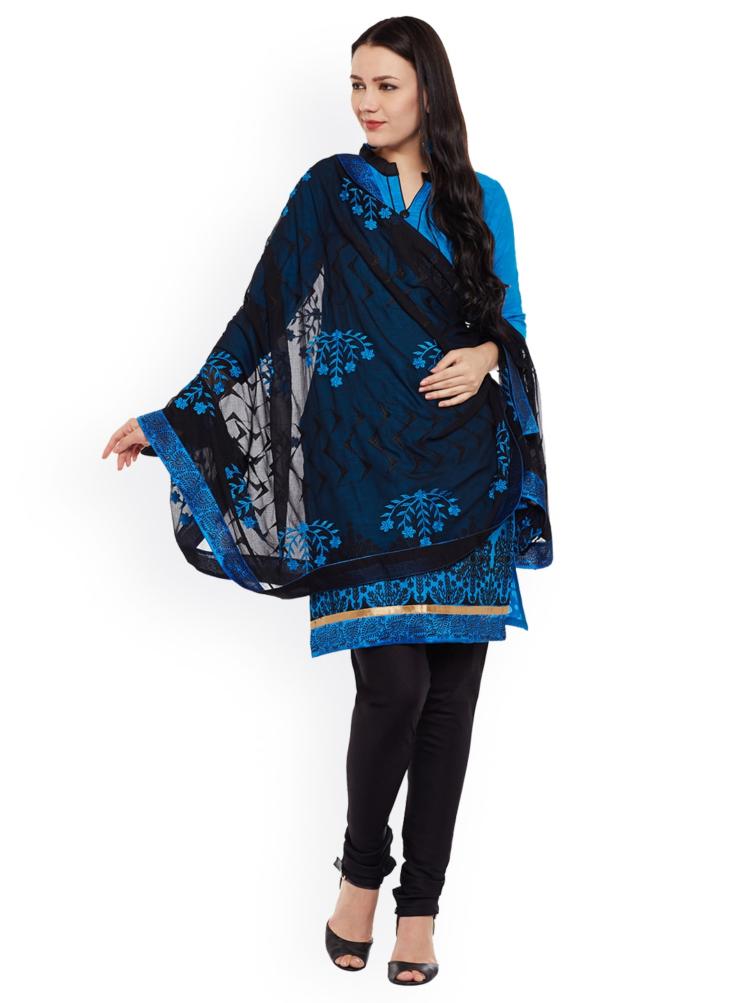 AgrohA Blue & Black Cotton Blend Unstitched Dress Material image