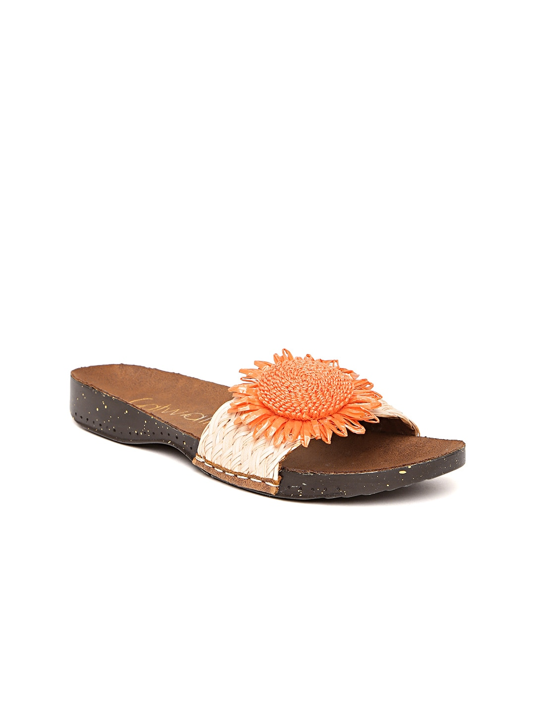 Catwalk Women Orange Patterned Open Toe Flats image