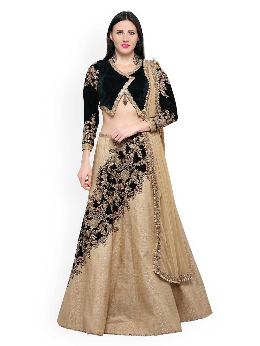 Riya Beige and Olive Green Jacquard and Velvet Embroidered Lehenga with Velvet Un-stitched choli and Net Dupatta image