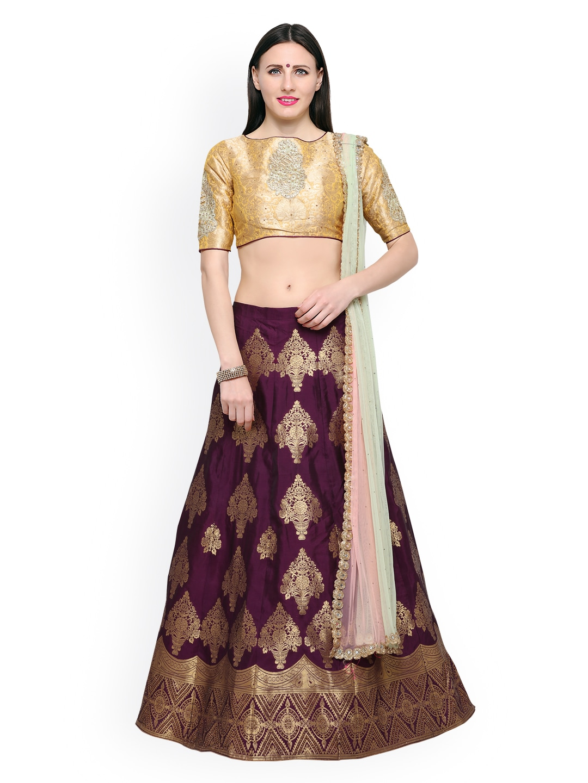 Riya Purple Crepe Silk Embroidered Lehenga with Un-stitched choli and Jacquard Dupatta image