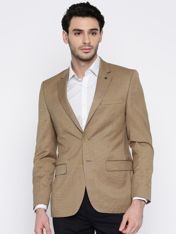 Park Avenue Men Brown Solid Single-Breasted Slim Fit Formal Blazer image