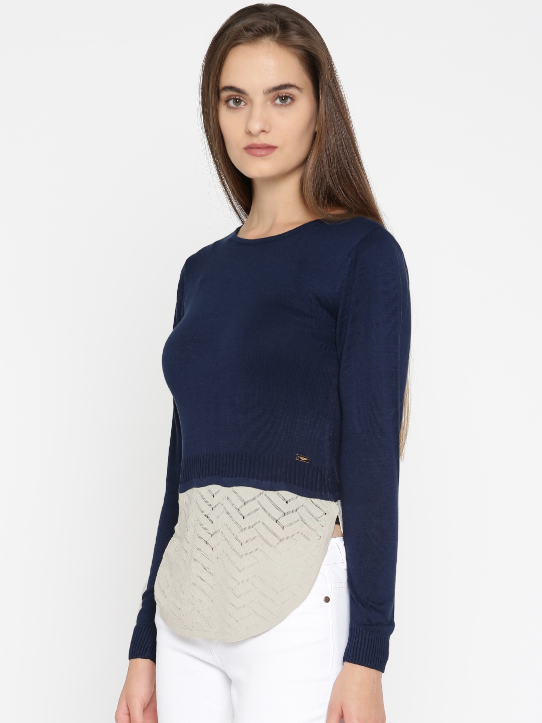 Park Avenue Woman Blue & Grey Colourblocked Pullover Sweater image