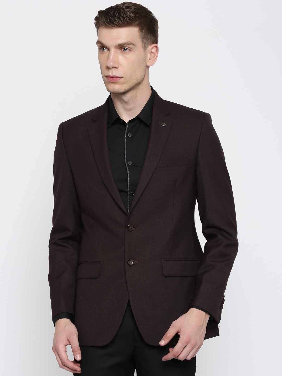 Raymond Maroon Contemporary Regular Fit Single-Breasted Blazer image