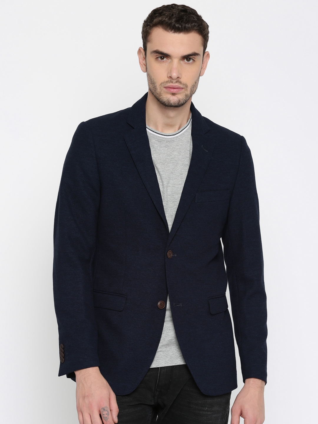 Indian Terrain Navy Single-Breasted Casual Blazer image