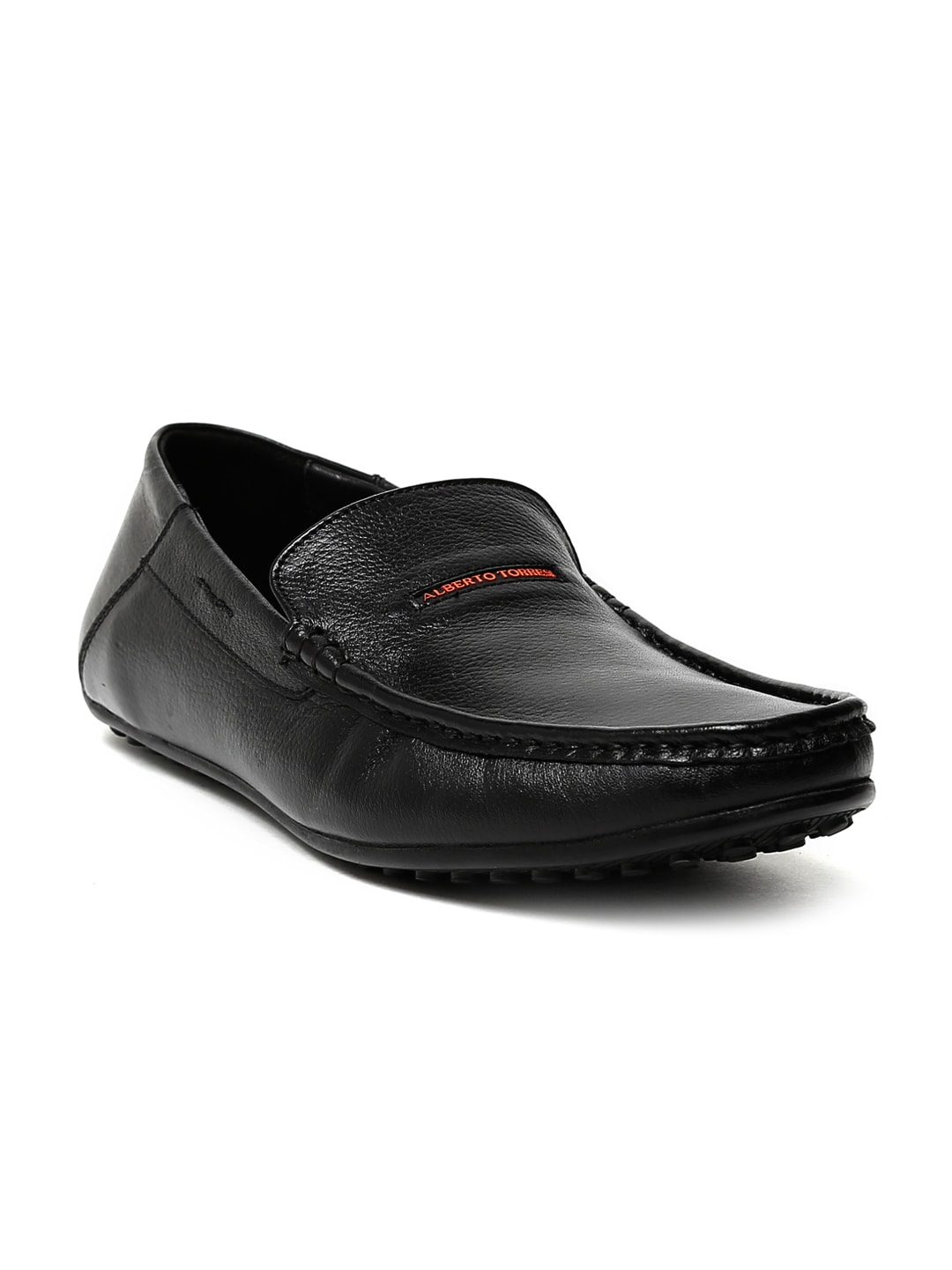 Alberto Torresi Men Black Leather Driving Shoes image