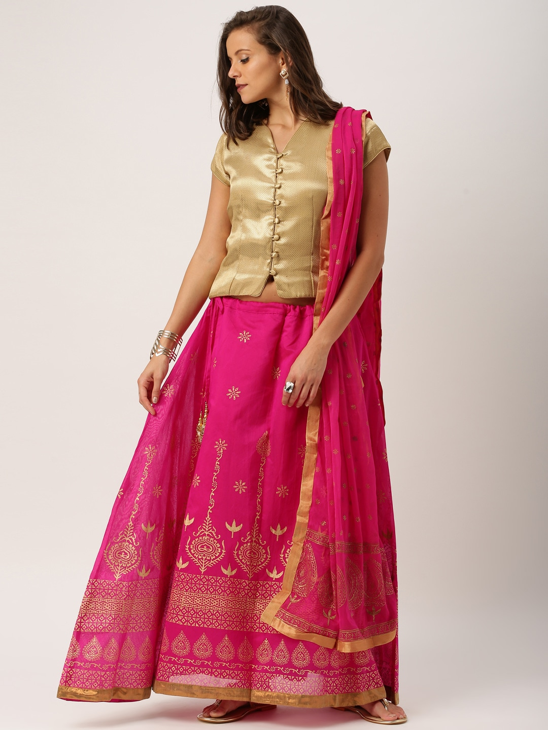 IMARA Gold-Toned & Pink Lehenga Choli with Dupatta image