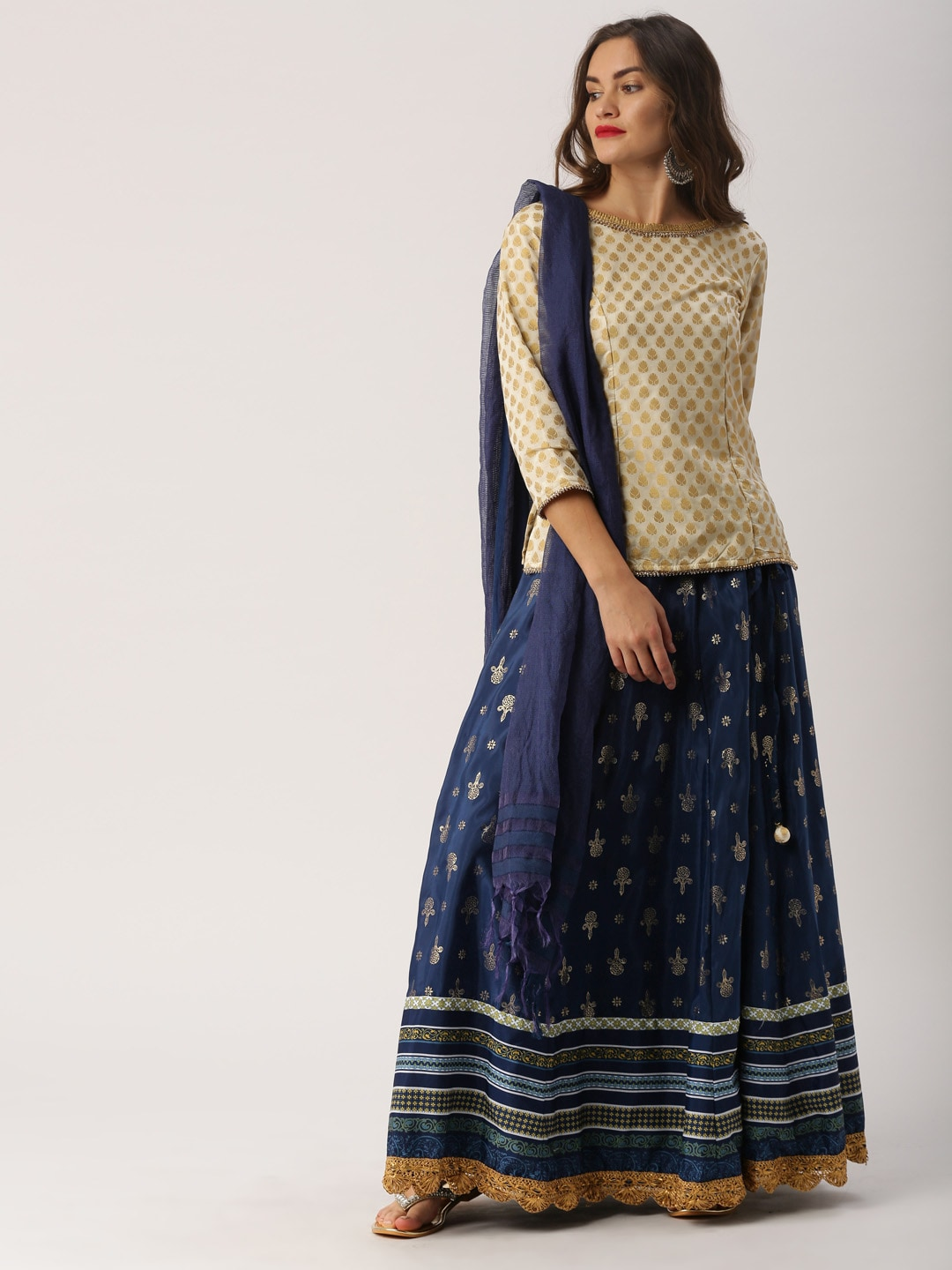 IMARA by Off-White & Navy Printed Lehenga Choli with Dupatta image