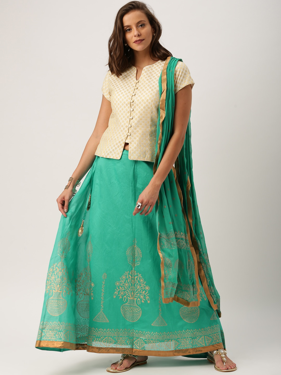 IMARA Gold-Toned & Green Lehenga Choli with Dupatta image