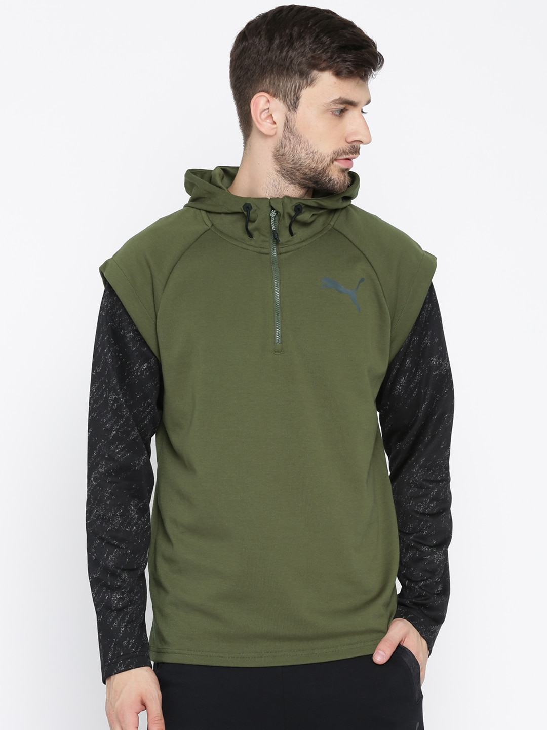 Buy Puma Olive Green Solid 1/4 Zip Energy Hooded Men's Sweatshirt At Best Price