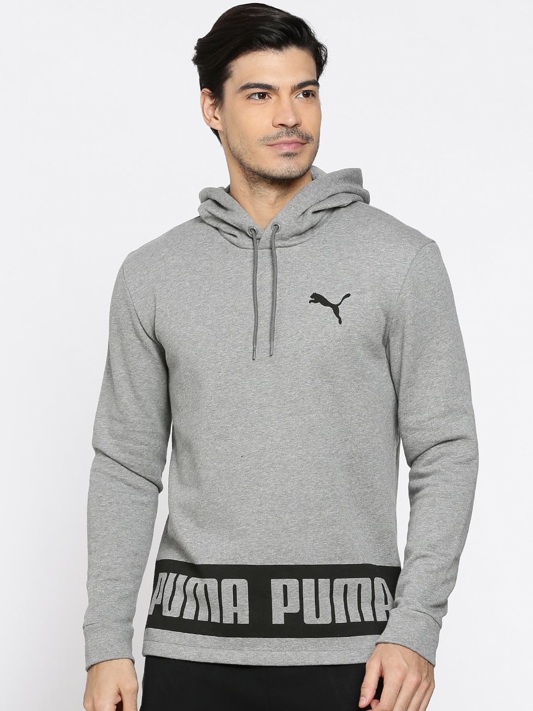Buy Puma Grey Printed Rebel Hooded Men's Sweatshirt At Best Price