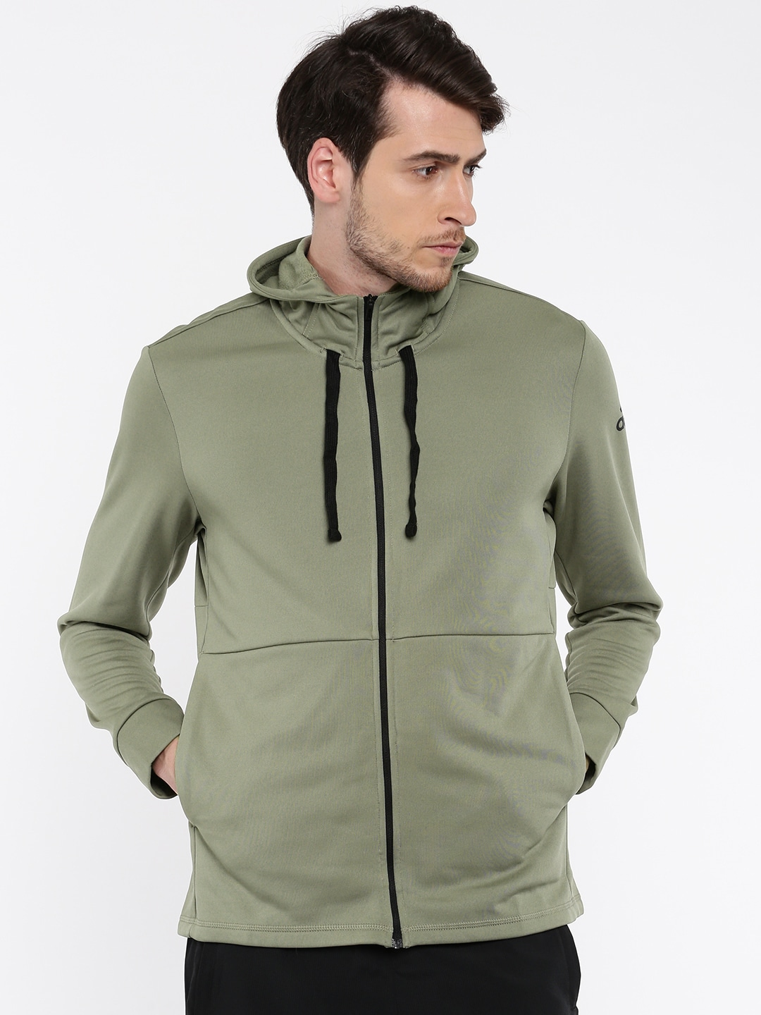 Buy Adidas WORKOUT FZ LITE Olive Green Solid Hooded Men's Sweatshirt At Best Price
