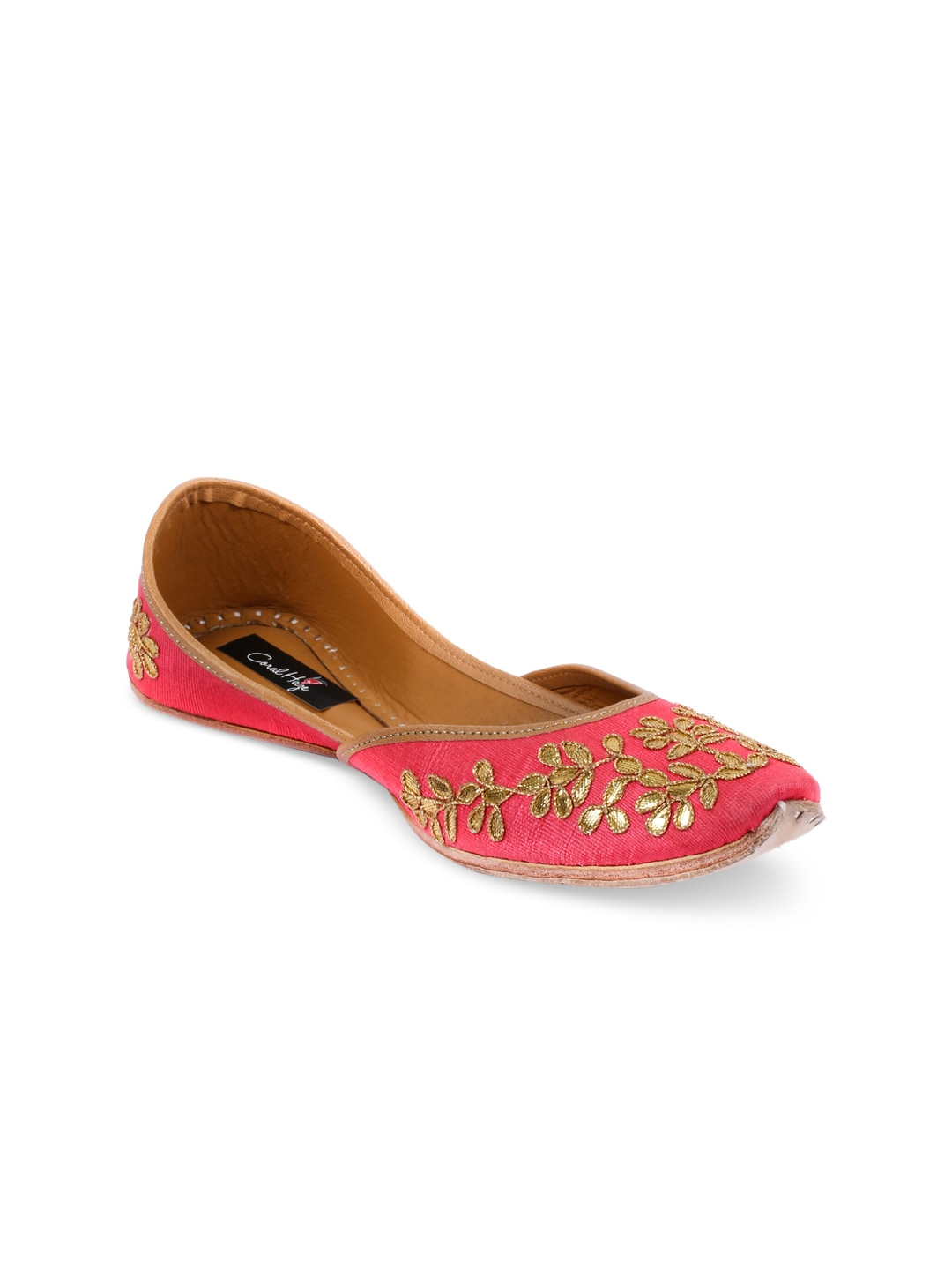 Coral Haze Women Pink Handcrafted Embellished Synthetic Juttis image