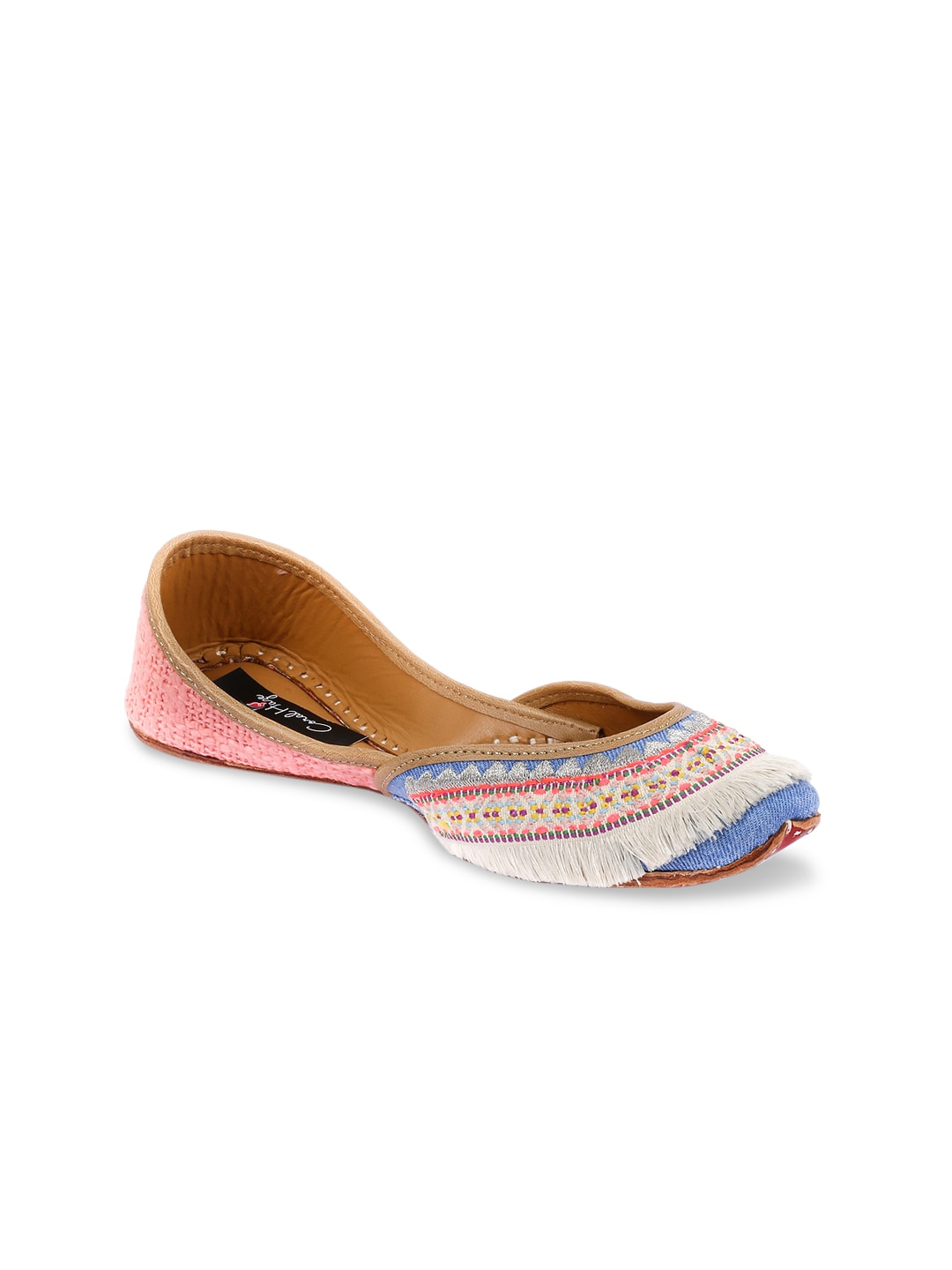 Coral Haze Women Off-White & Pink Embroidered Handcrafted Mojaris image