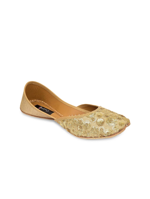 Coral Haze Women Gold-Toned Embellished Handcrafted Mojaris image