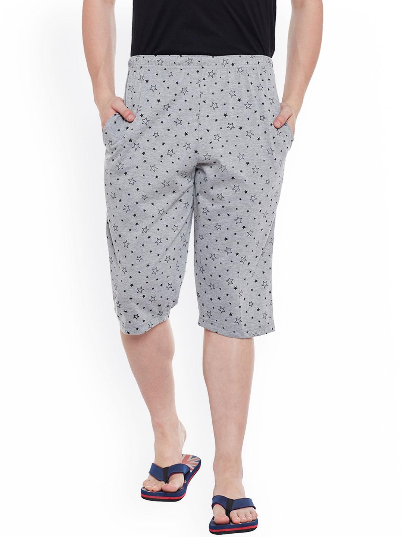 VIMAL Grey Melange Printed Lounge Shorts D13-PRT-NO.1 image