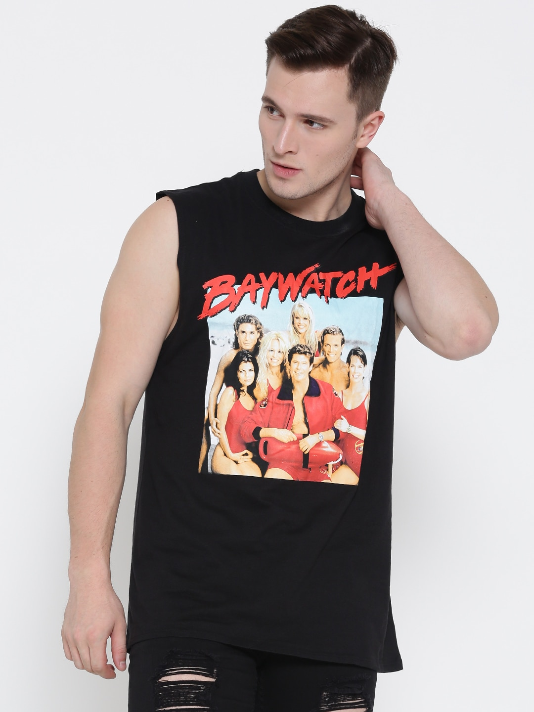 FOREVER 21 Men Black Baywatch Print Round Neck Sleeveless T-shirt image