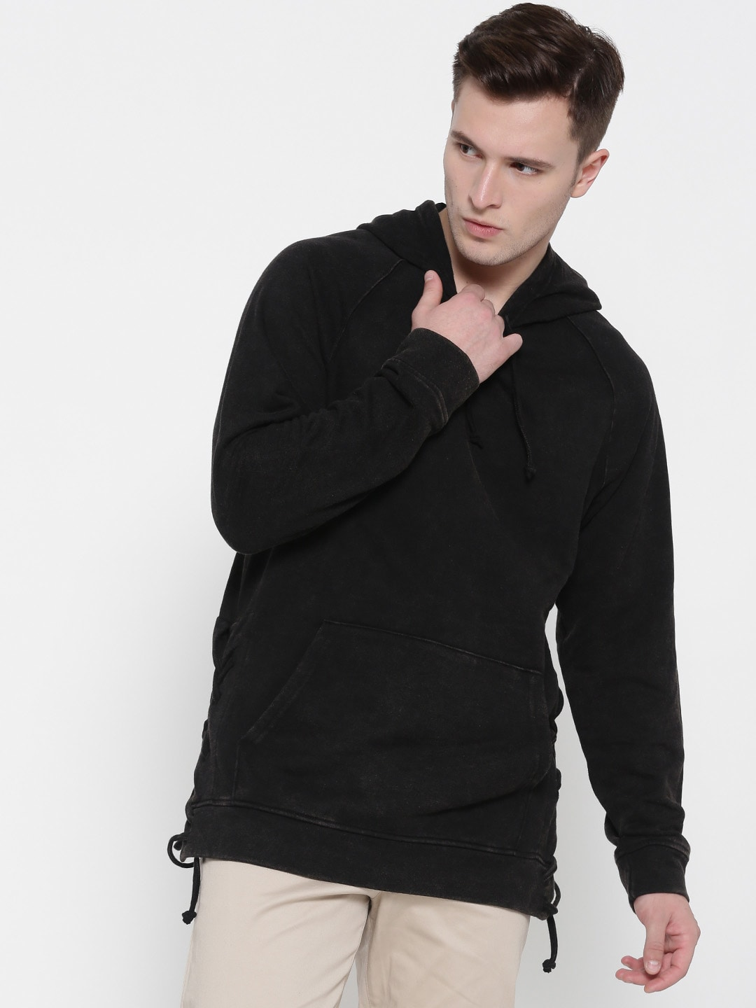FOREVER 21 Men Black Solid Hooded Sweatshirt image