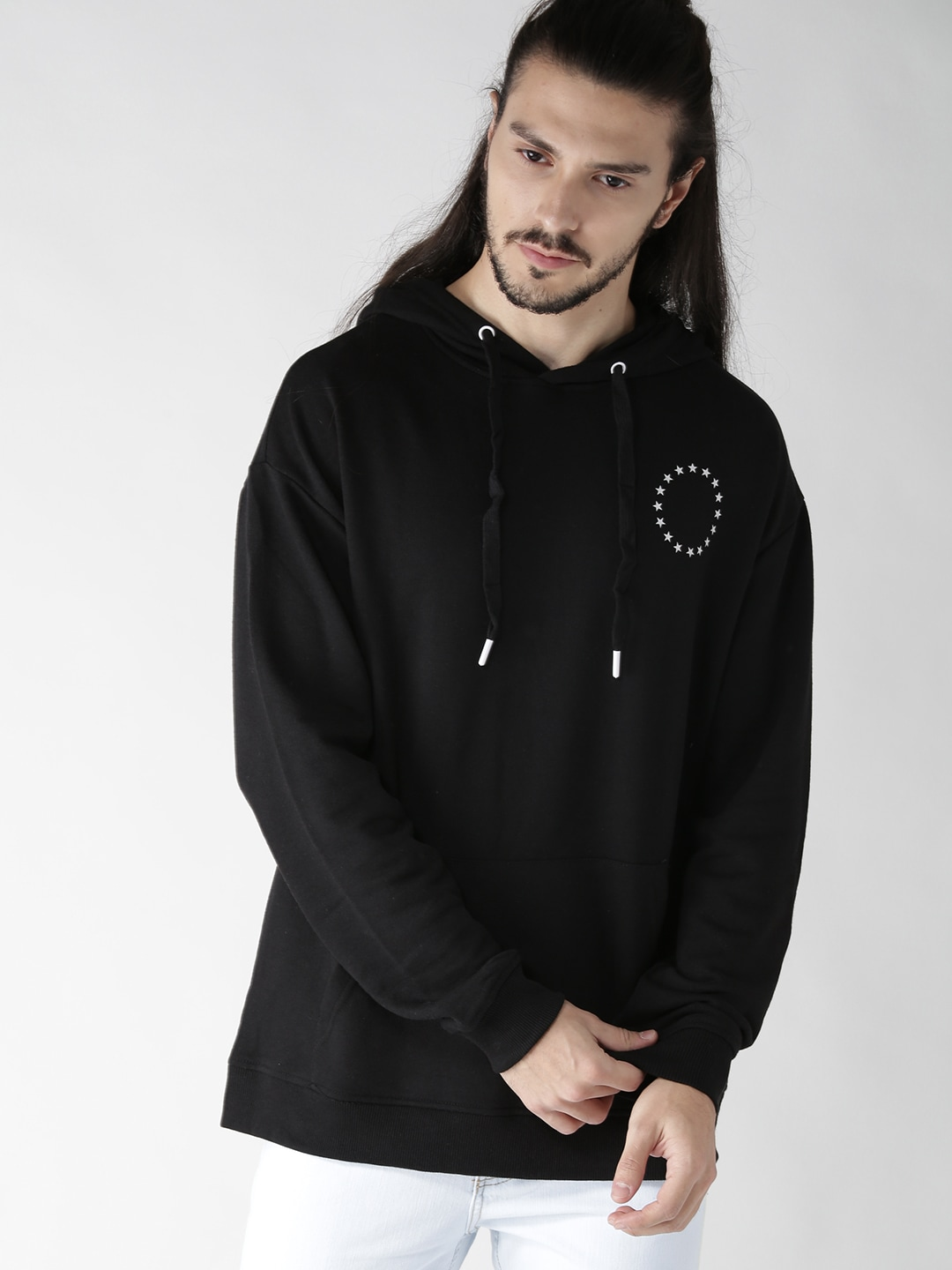 FOREVER 21 Men Black Printed Back Hooded Sweatshirt image