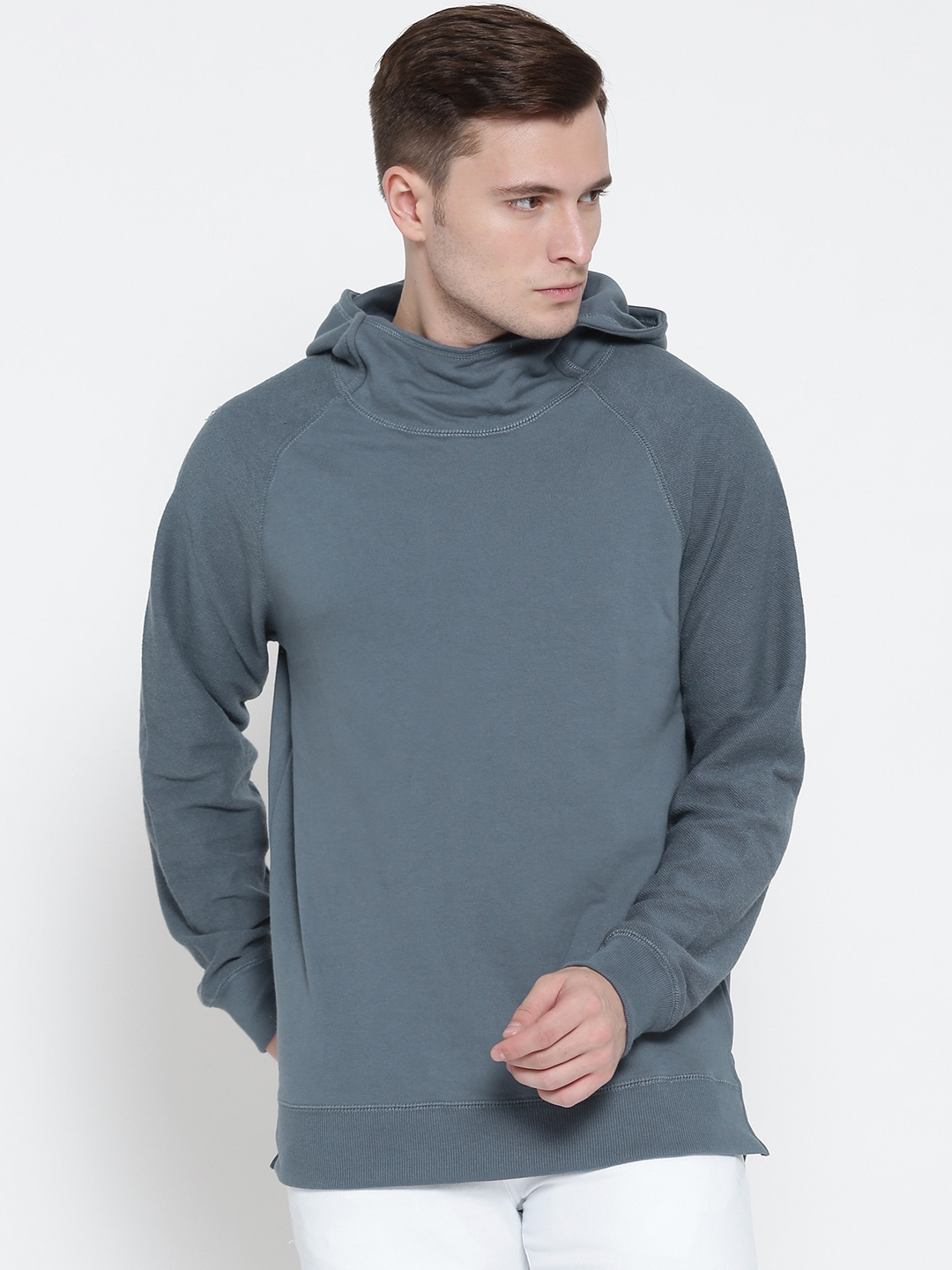 FOREVER 21 Men Blue Solid Hooded Sweatshirt image