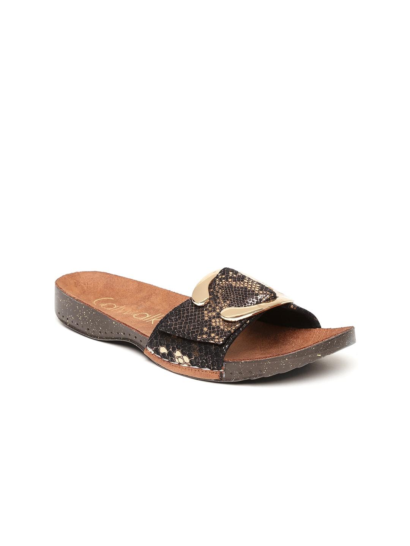 Catwalk Women Black & Gold-Toned Printed Open Toe Flats image