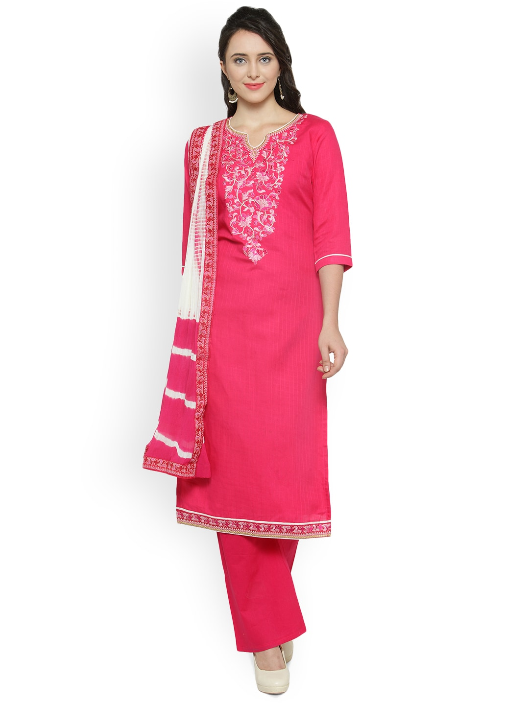 Kvsfab Pink & White Pure Cotton Unstitched Dress Material image