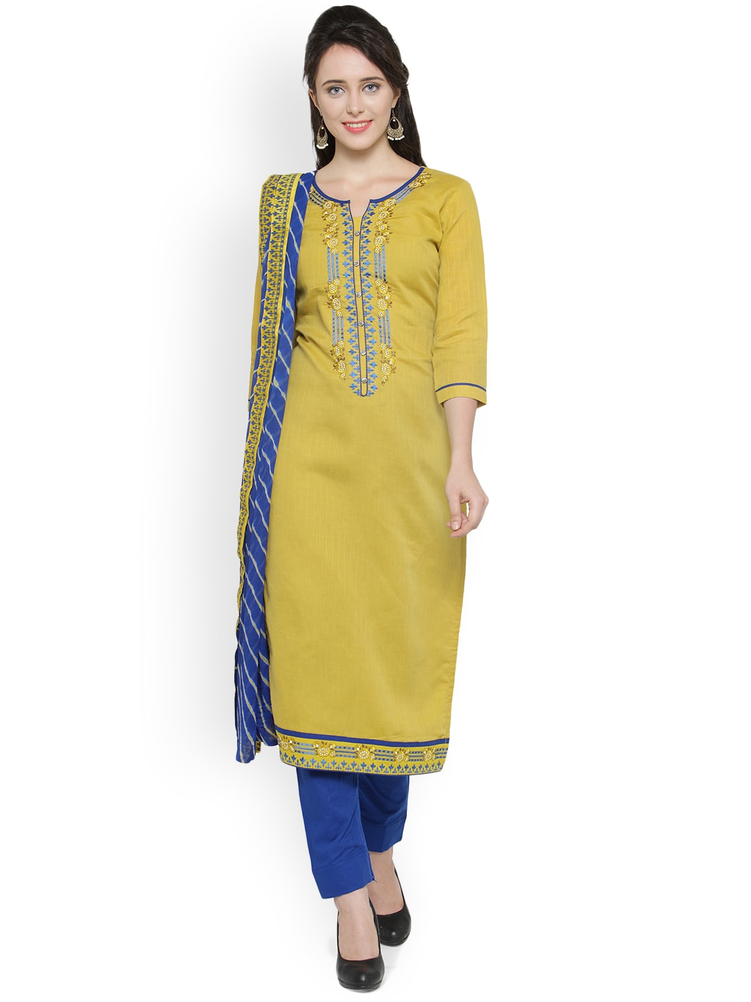 Kvsfab Mustard Yellow & Blue Pure Cotton Unstitched Dress Material image
