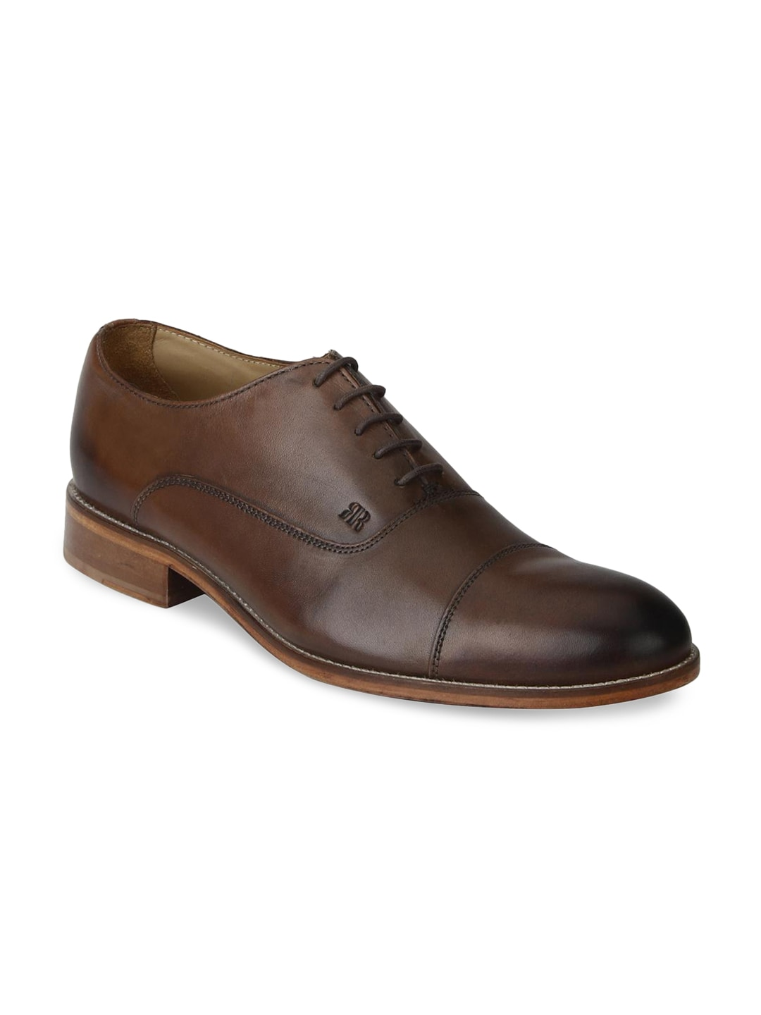 Raymond Men Brown Round-Toed Leather Formal Shoes image