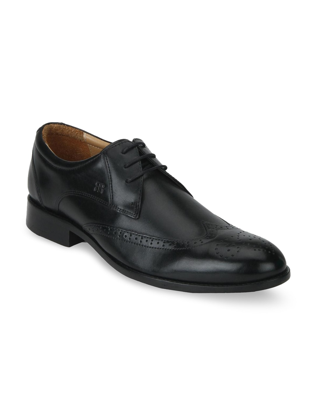 Raymond Men Black Round-Toed Leather Brogues image