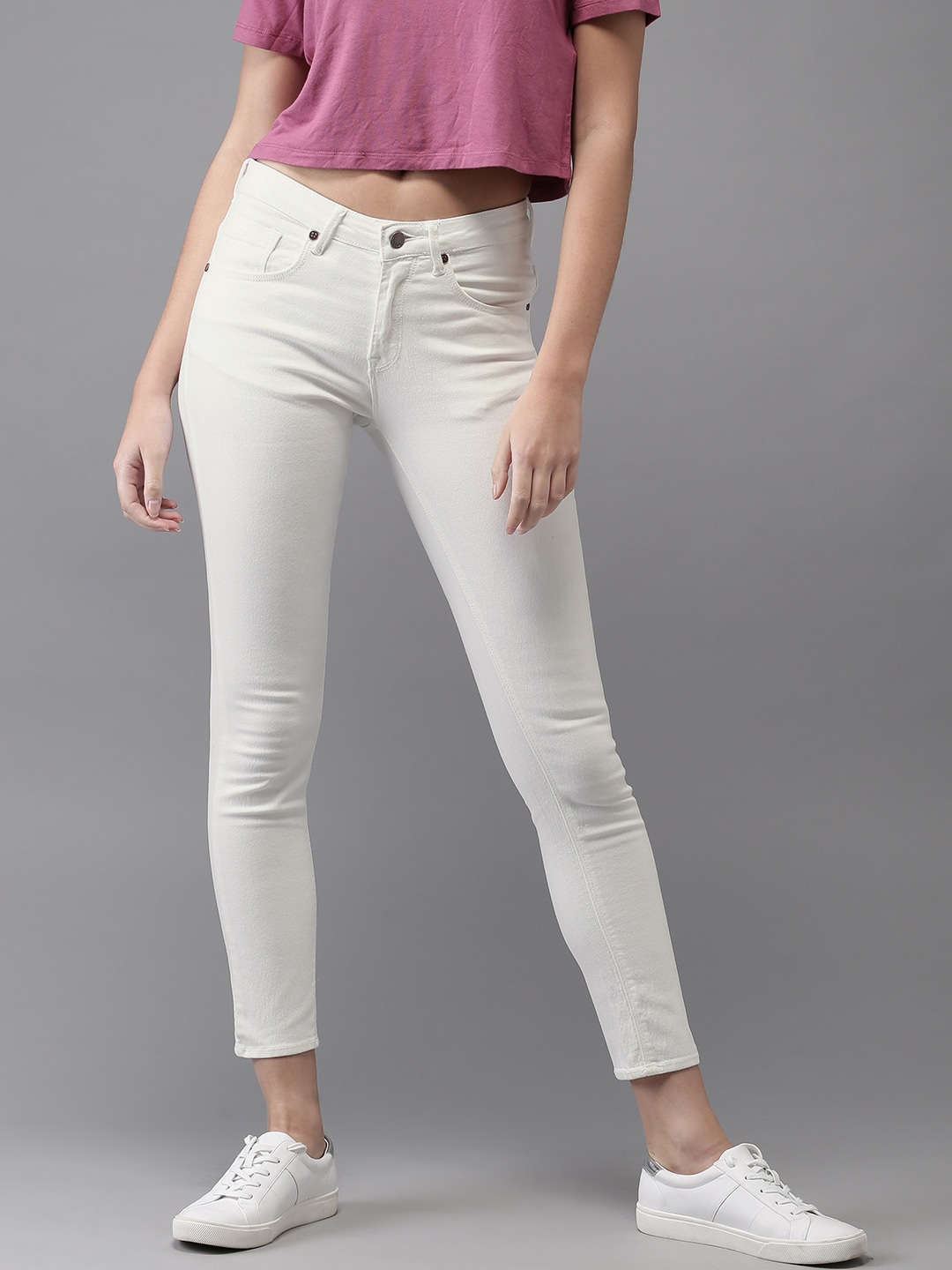 HERE&NOW White Skinny Fit Women Jeans