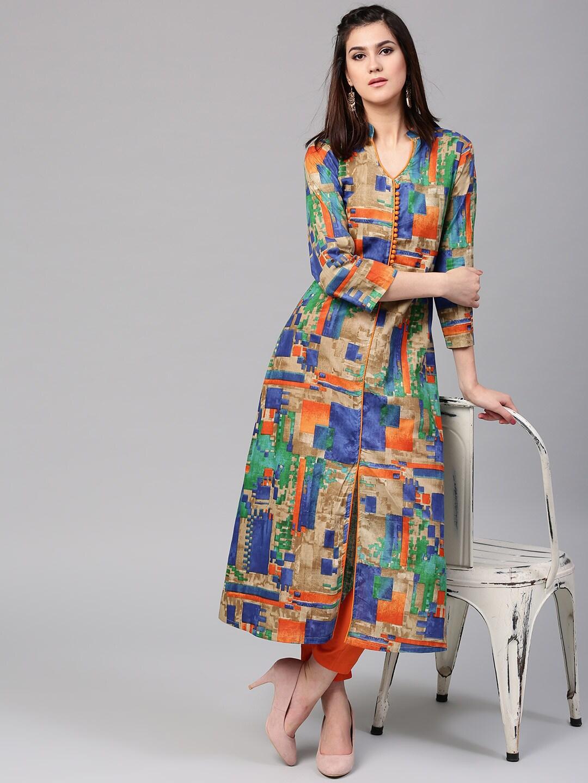 AKS Women Multicoloured Printed A-Line Kurta