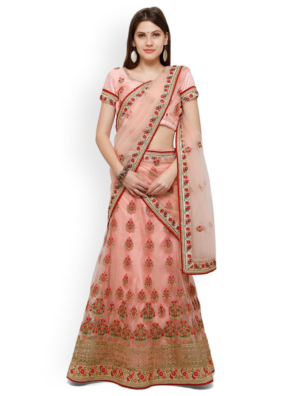 Aasvaa Peach-Coloured Embroidered Net Semi-Stitched Lehenga Choli with Dupatta image