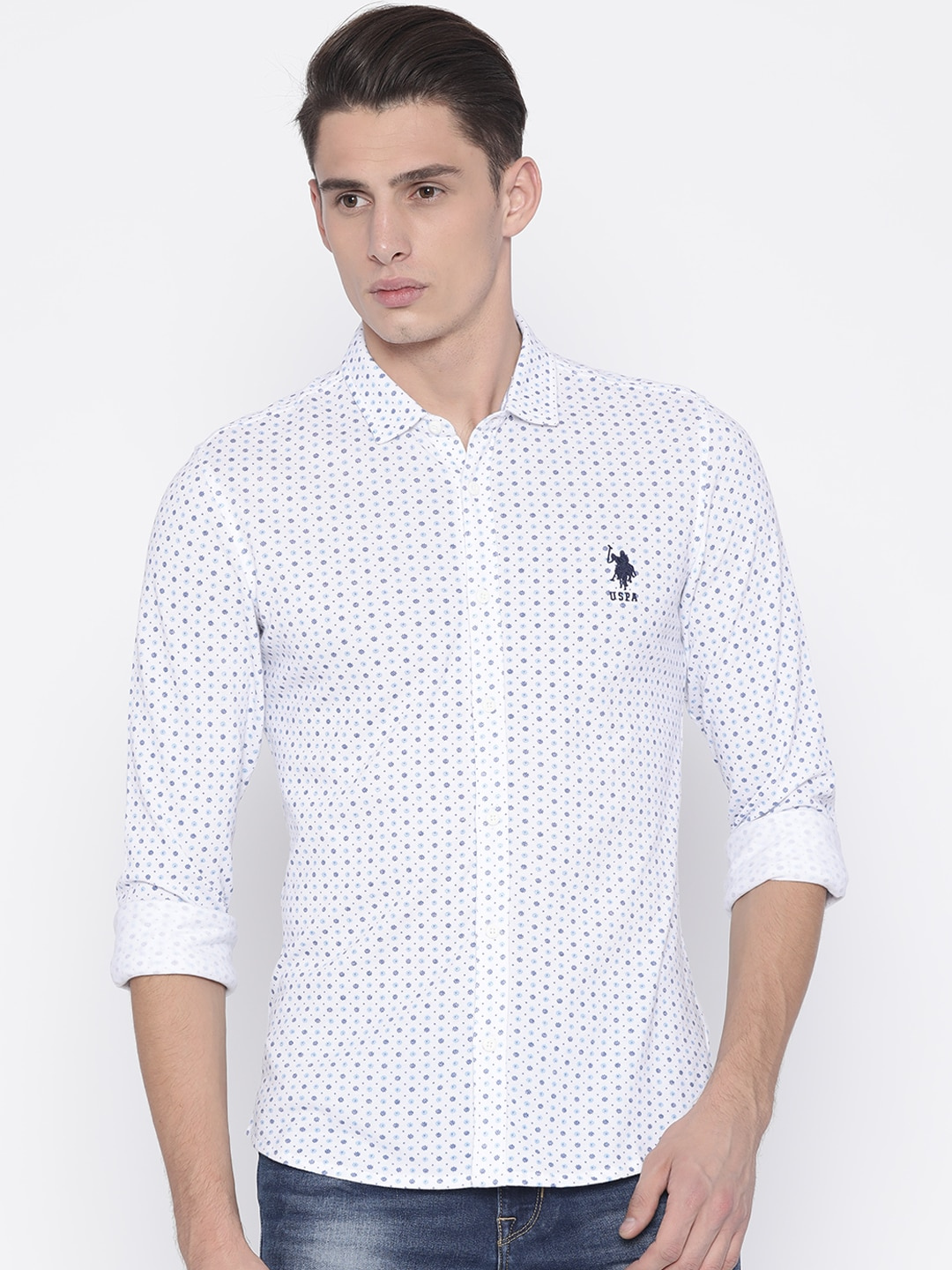 U.S. Polo Assn. Men White & Blue Regular Fit Printed Casual Shirt image
