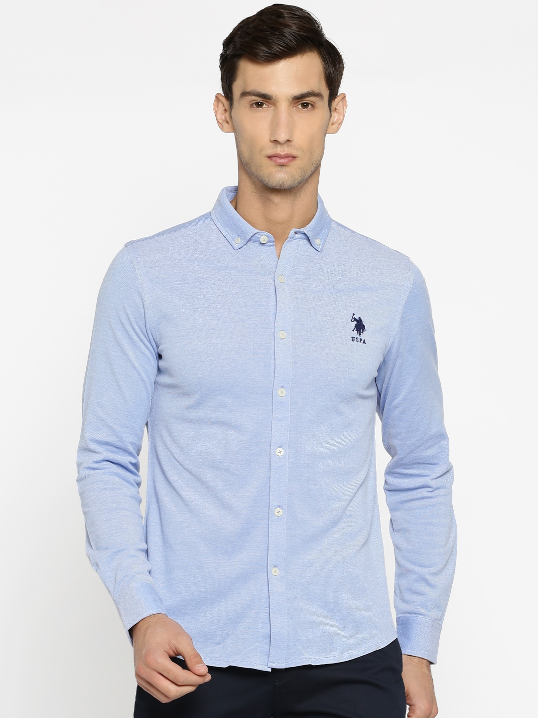 U.S. Polo Assn. Men Blue Tailored Fit Solid Casual Shirt image