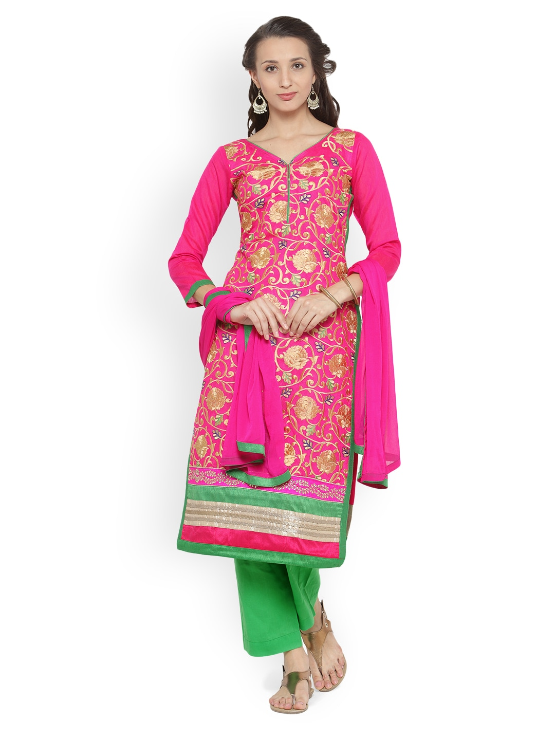 Chhabra 555 Pink & Green Cotton Blend Unstitched Dress Material image