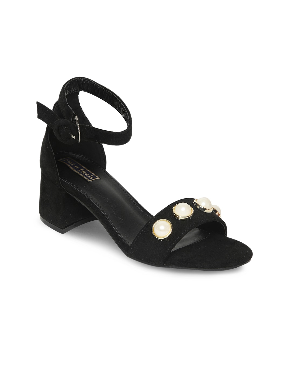 Flat n Heels Women Black Solid Block Heels image