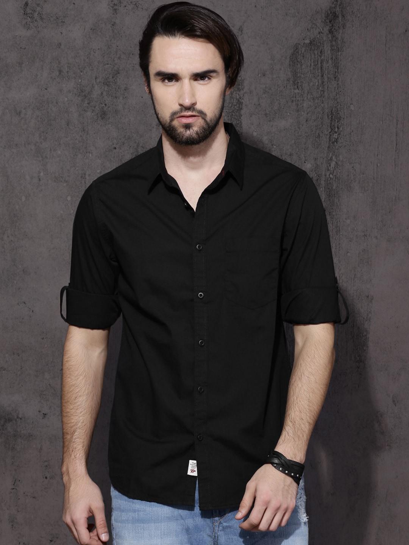 Buy Roadster Men Black Regular Fit Solid Casual Shirt Online at Best Price in India