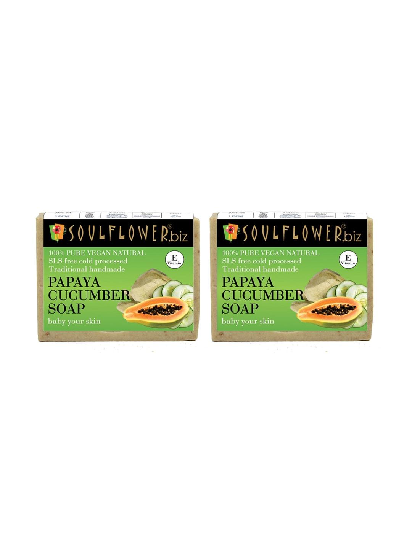 Soulflower Unisex Pack of 2 Papaya Cucumber Soaps image