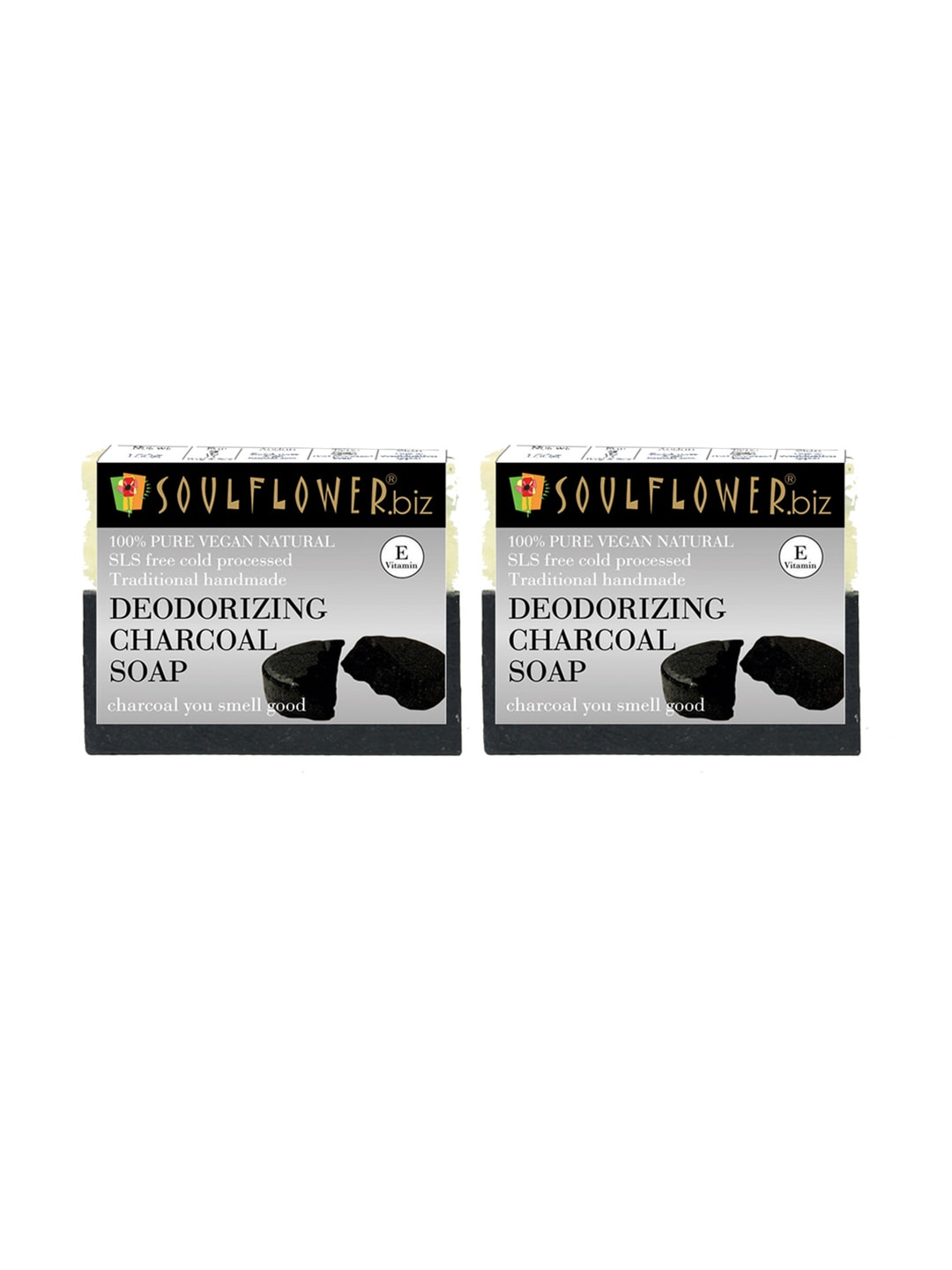 Soulflower Unisex Pack of 2 Deodorizing Charcoal Soaps image