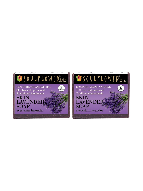 Soulflower Unisex Pack of 2 Lavender Soaps image