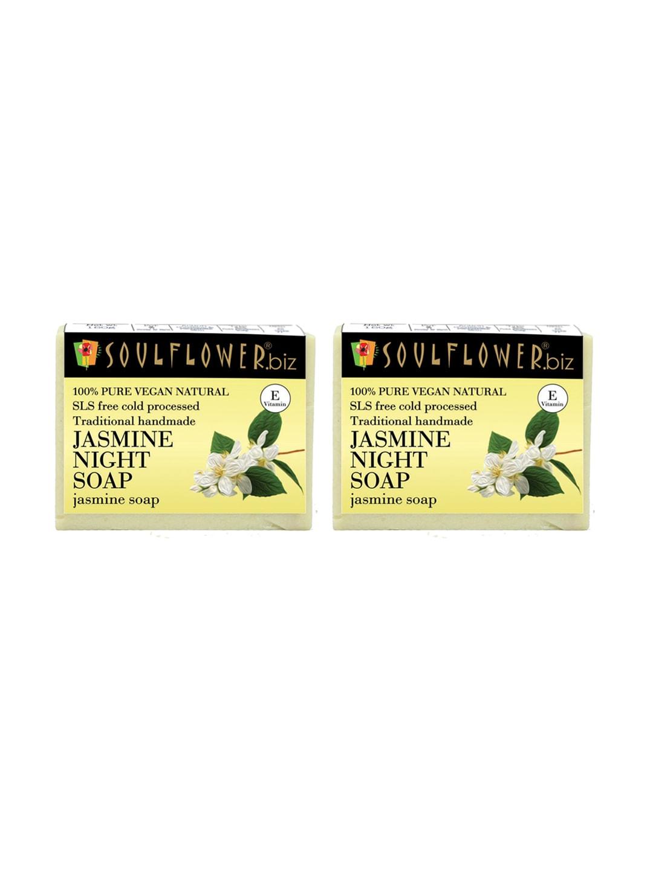 Soulflower Unisex Pack of 2 Jasmine Night Soaps image