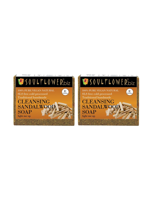 Soulflower Unisex Pack of 2 Cleansing Sandalwood Soaps image
