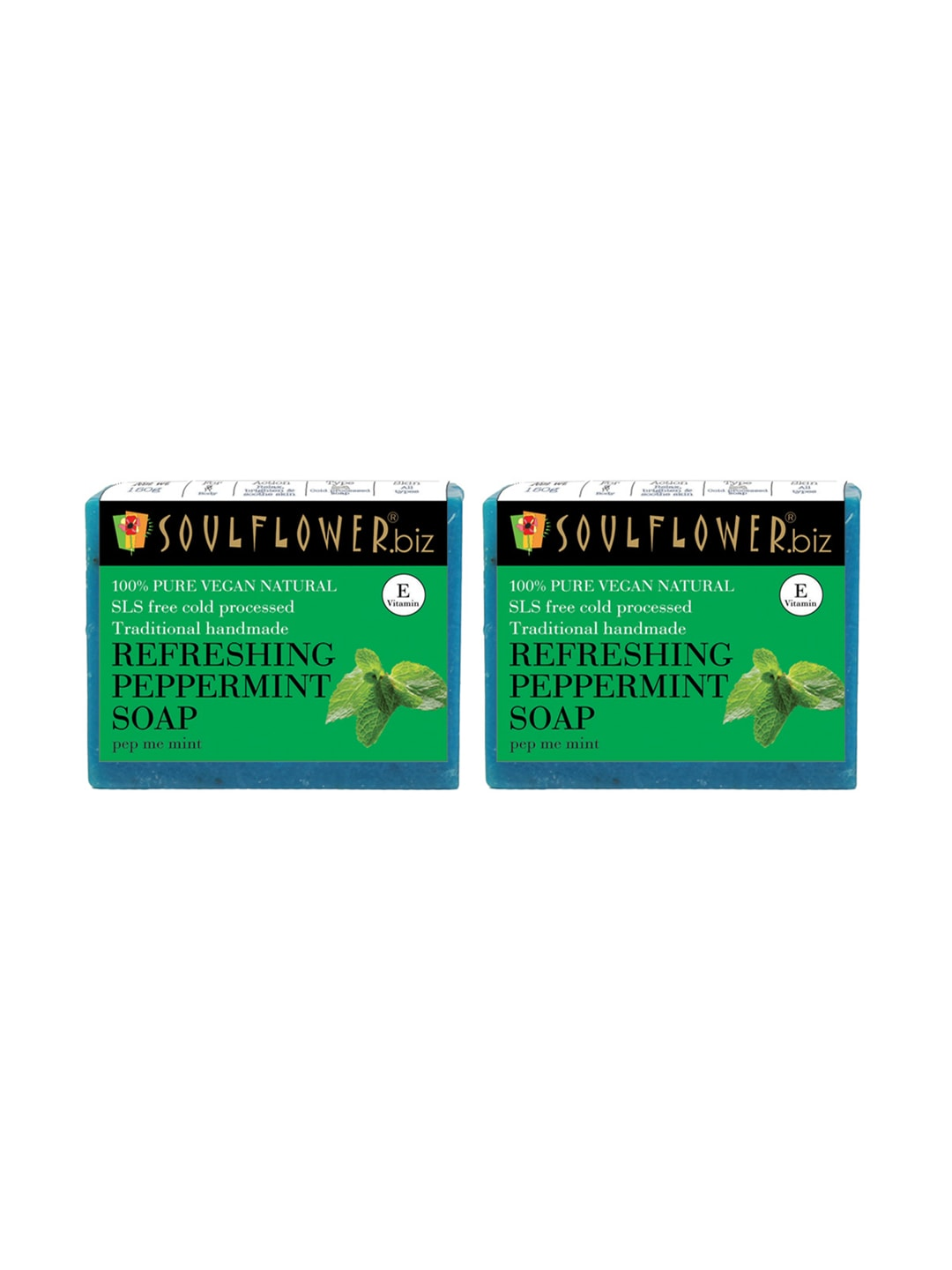 Soulflower Unisex Pack of 2 Refreshing Peppermint Soaps image