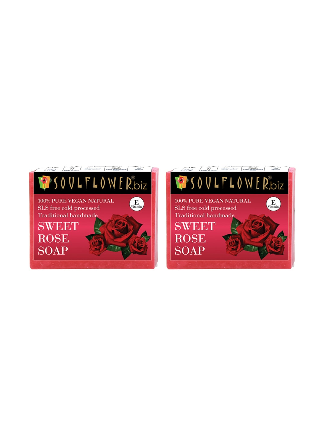 Soulflower Unisex Pack of 2 Sweet Rose Soaps image