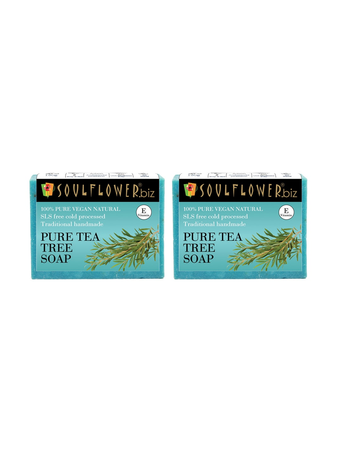 Soulflower Unisex Pack of 2 Pure Tea Tree Soaps image