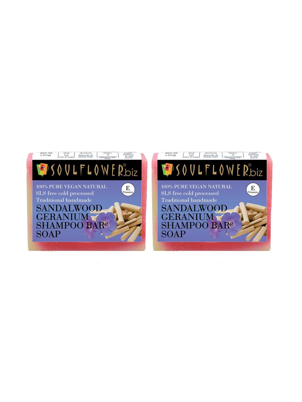 Soulflower Unisex Pack of 2 Sandalwood Geranium Shampoo Bar Soaps image
