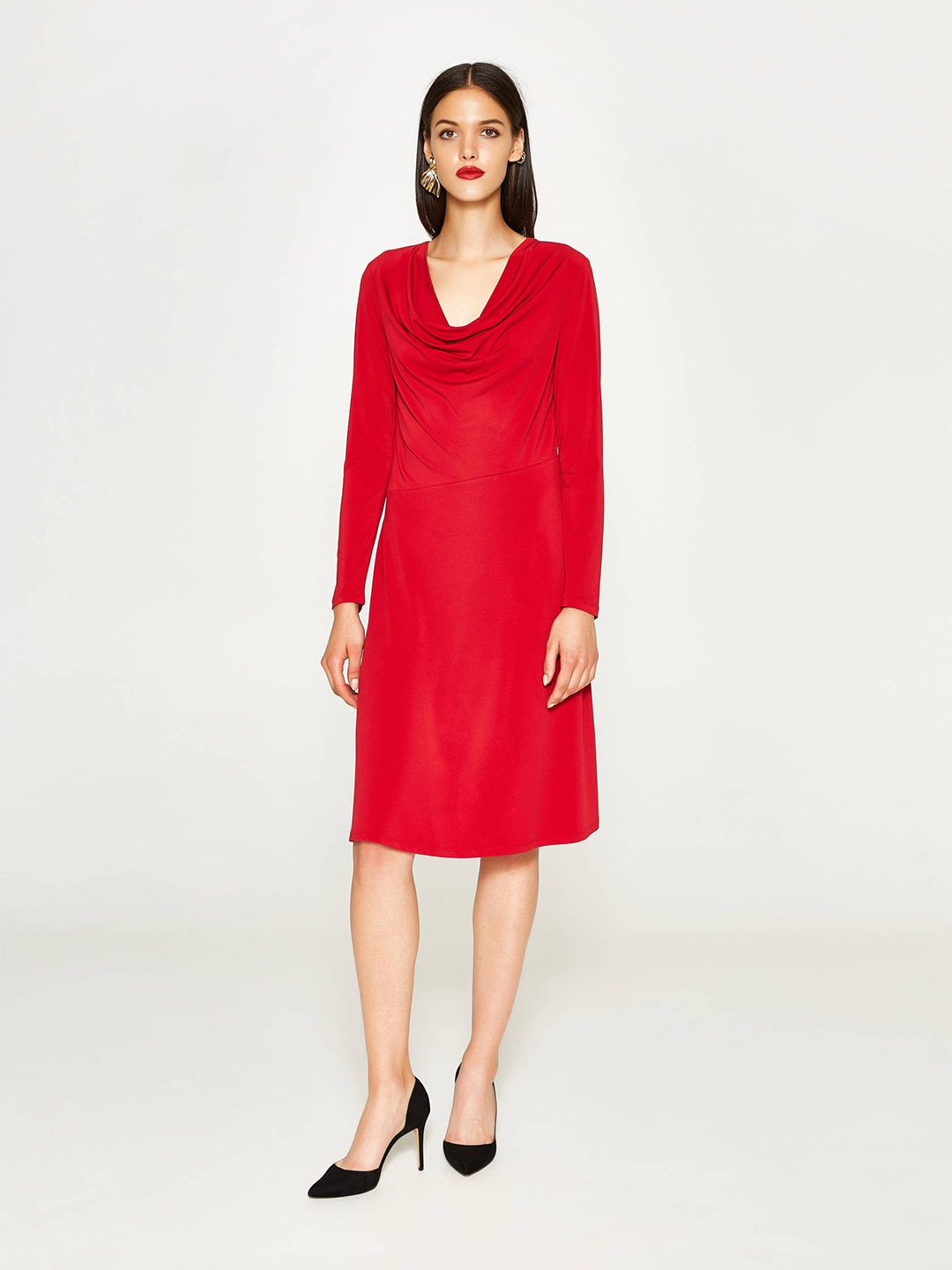 OVS Women Red Solid Fit & Flare Dress image